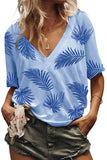 Sky Blue Casual V Neck Plant Print Tee-Tops, Tops & Tees-Azura Exchange