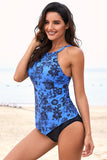 Sky Blue Hanky Hem High Neck Tankini-Swimwear, Tankinis-Azura Exchange