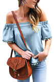 Sky Blue Pom Pom Blouse-Tops, Blouses & Shirts-Azura Exchange