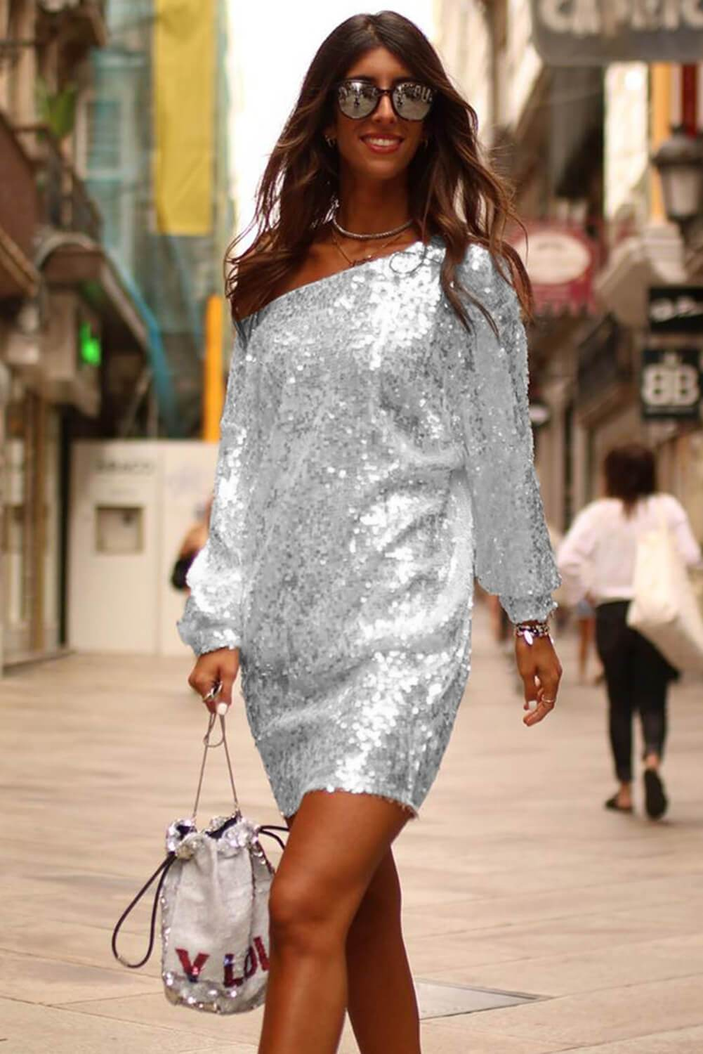 Slanted Shoulder Sequin Dress-Dresses, Club Dresses-Azura Exchange