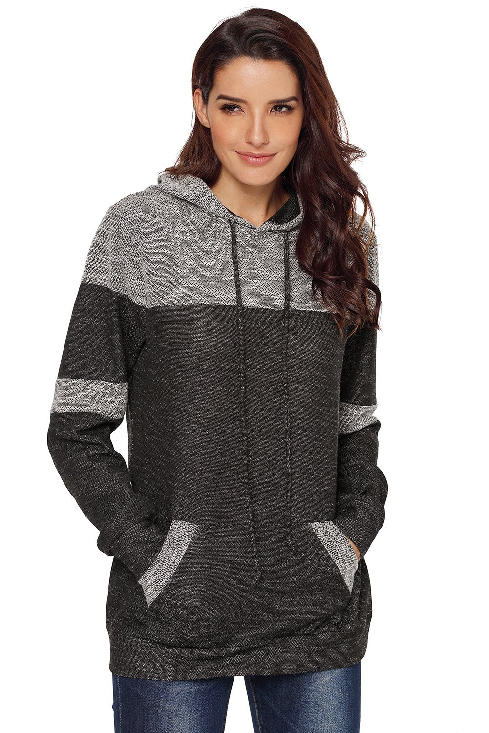 Stylish Black Patchwork Hoodie with Pockets-Outerwear, Sweatshirts & Hoodies-Azura Exchange