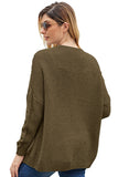 Taupe Chunky Wide Long Sleeve Knit Cardigan-Outerwear, Sweaters & Cardigans-Azura Exchange
