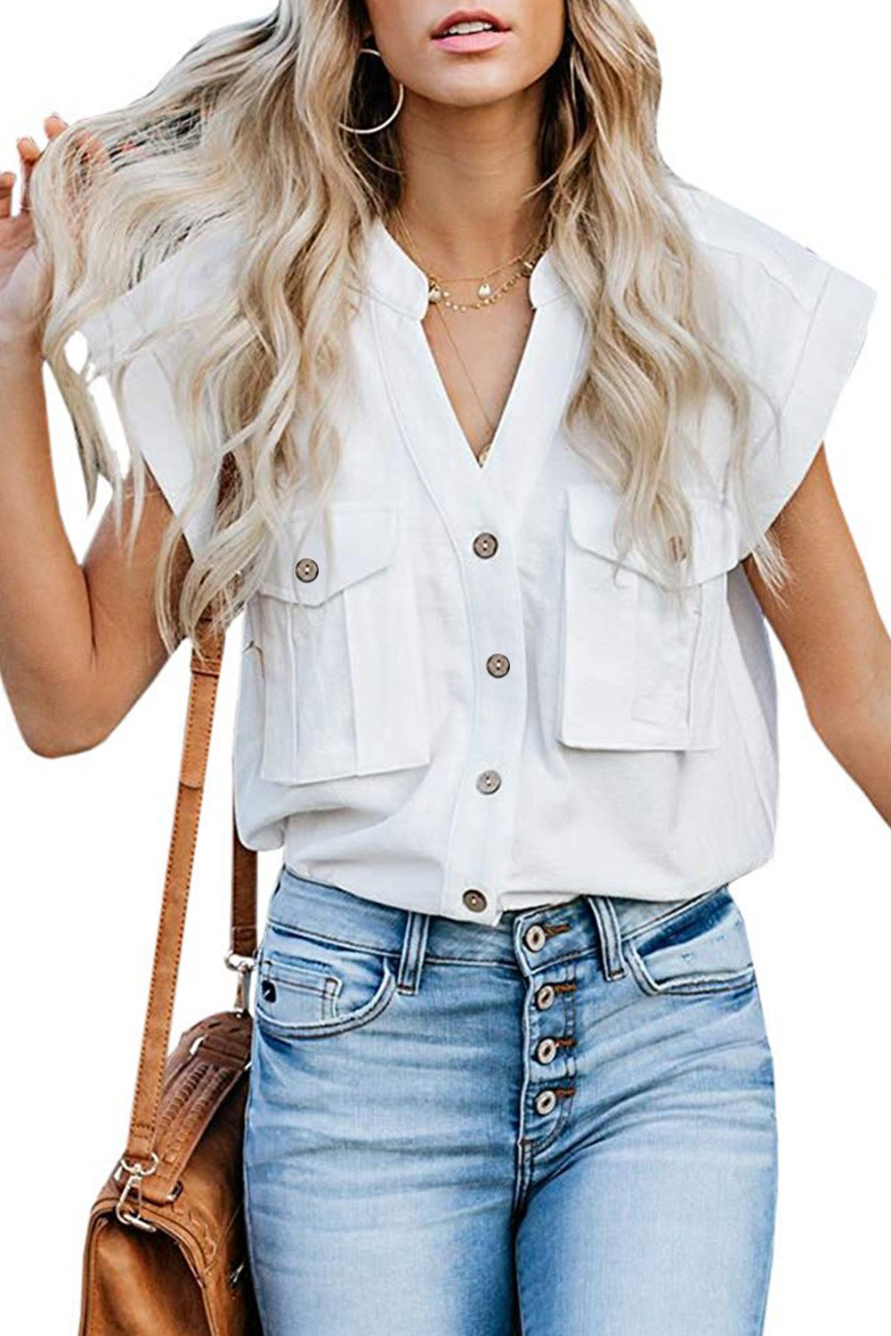 White Button Down Pocket Cap Sleeve Shirt-Tops, Blouses & Shirts-Azura Exchange