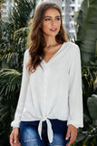 White Button up Long Sleeves Top with Front Tie-Tops, Long Sleeve Tops-Azura Exchange