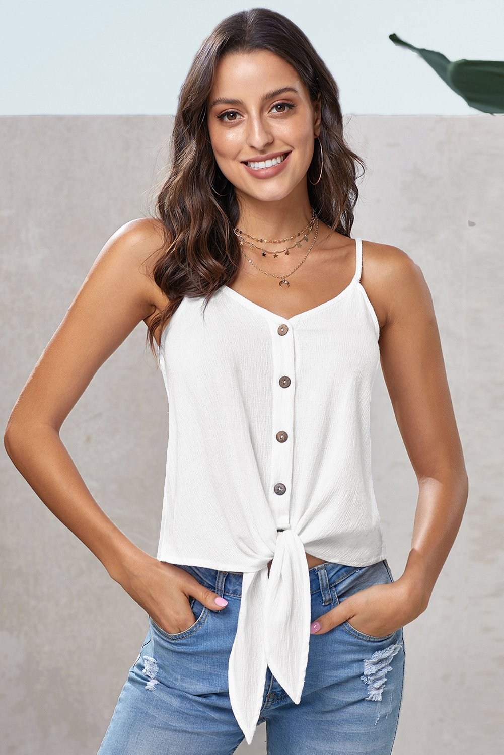 White Buttoned Knot Front Slip Tank-Tops, Tank Tops-Azura Exchange