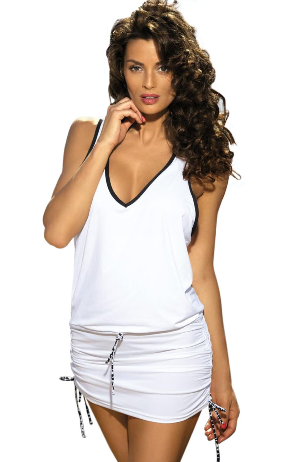 White Contrast-colored Beach Dress Attached with Panty-Swimwear, One-Piece Swimwear-Azura Exchange