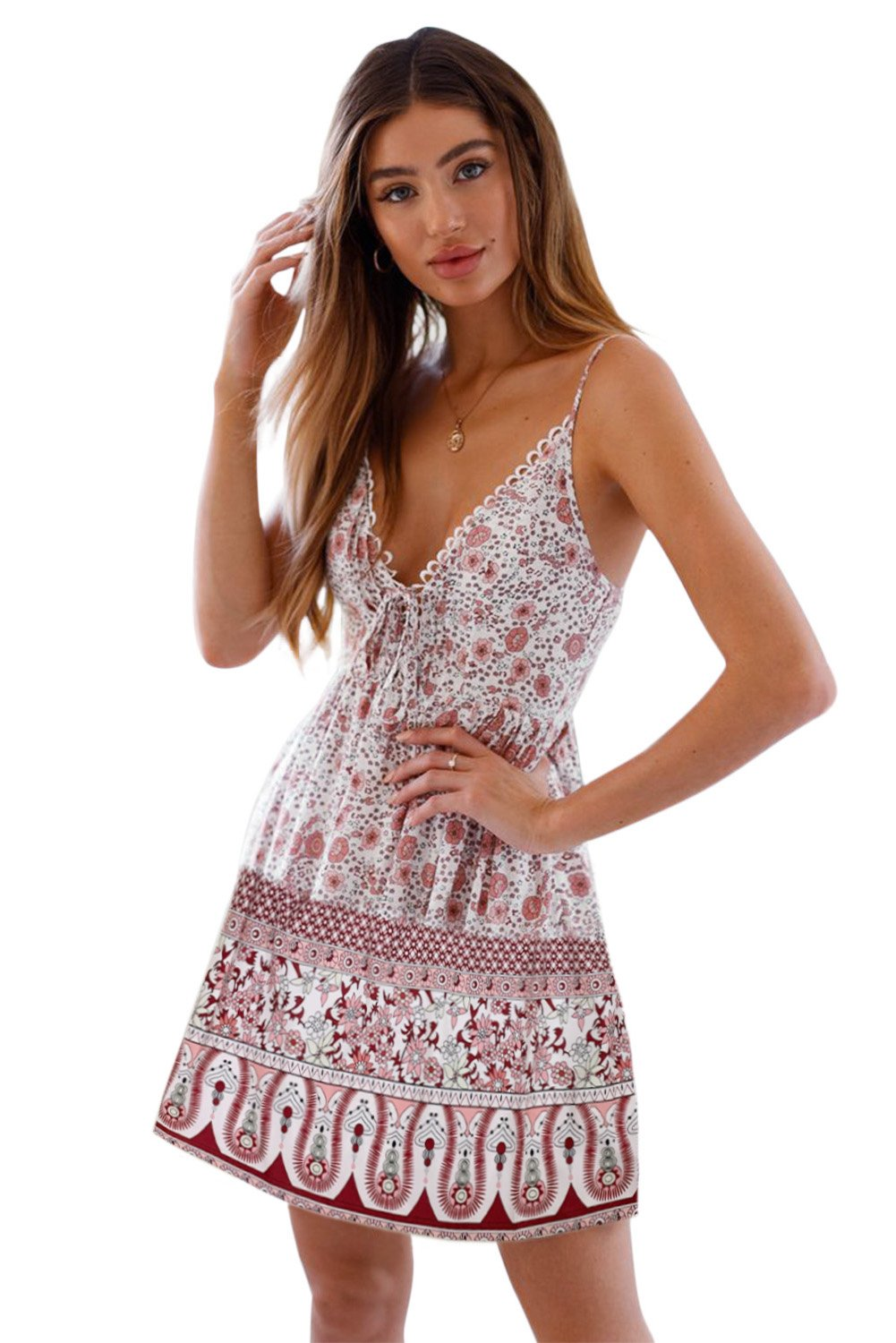 White Floral Pattern Tank Slip Dress-Dresses, Floral Dresses-Azura Exchange