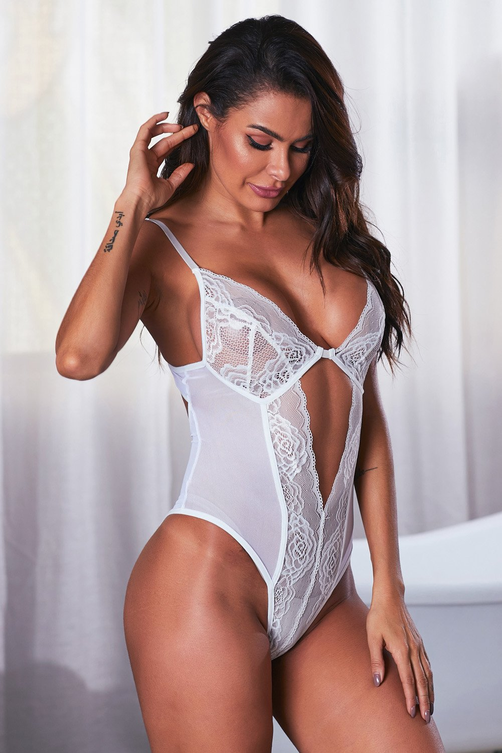 White Lace Mesh Bodysuit-Lingerie, Teddies Lingerie-Azura Exchange