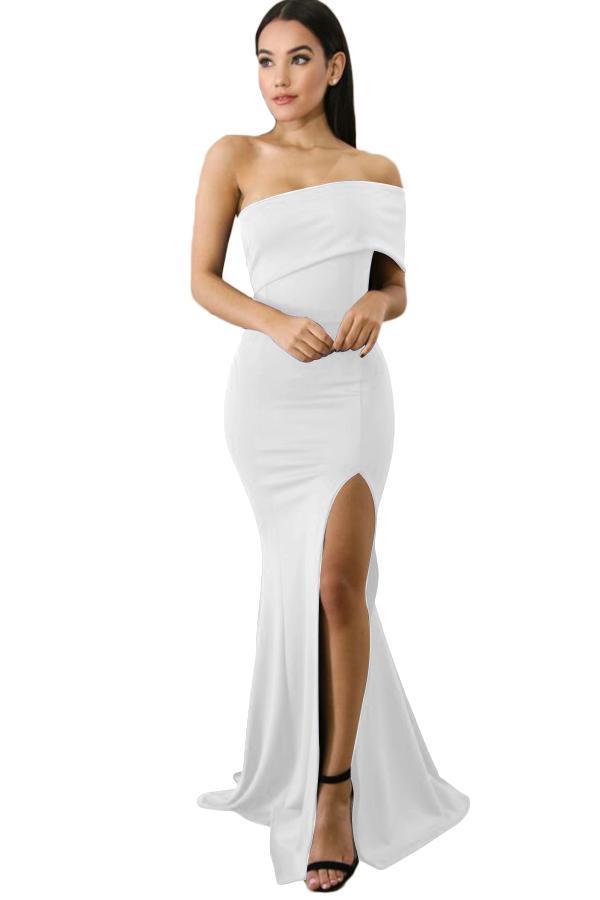 White Off The Shoulder One Sleeve Slit Maxi Party Prom Dress-Dresses, Evening Dresses-Azura Exchange