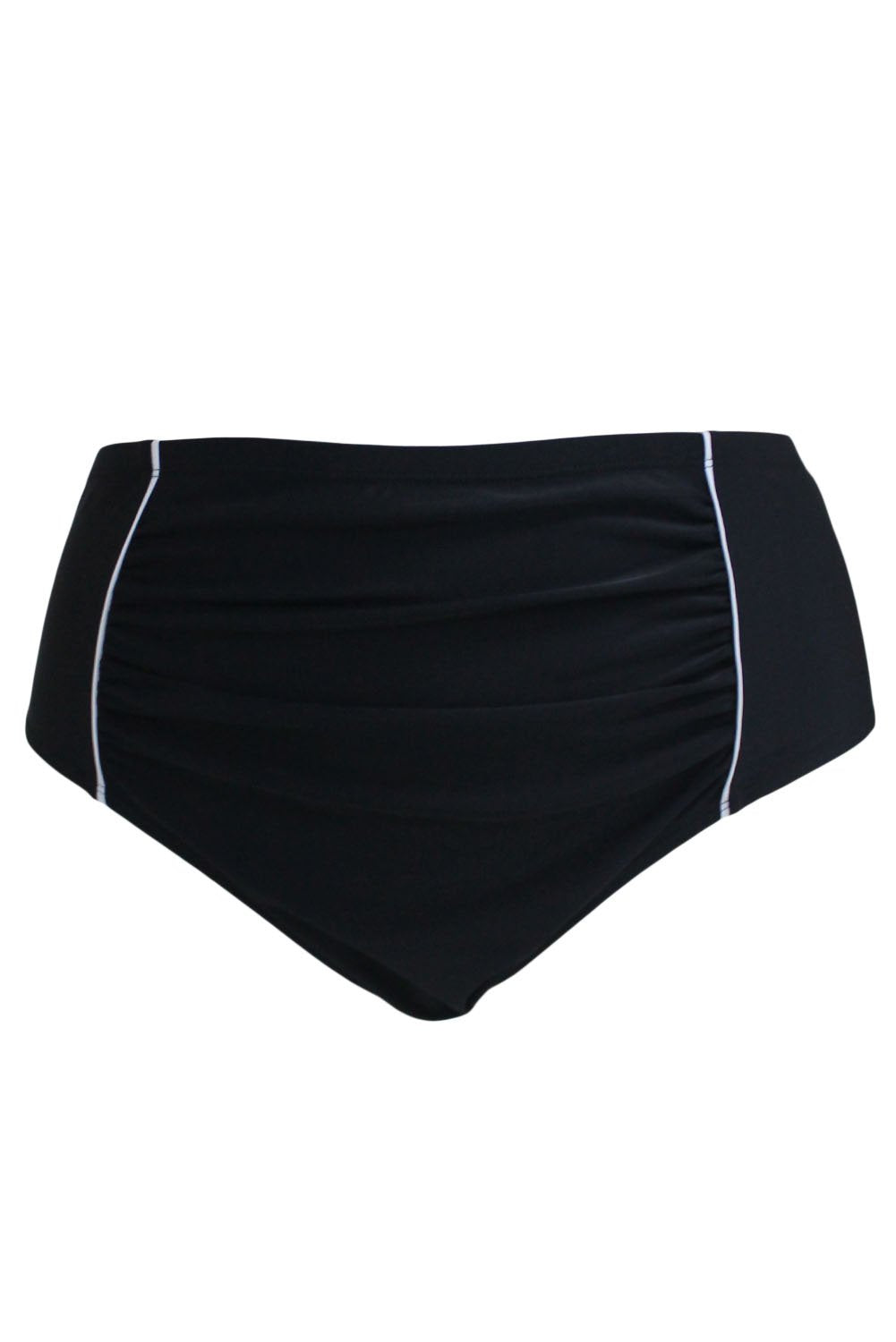 White Piping Stripes Accent Black High Waist Swim Briefs-Swimwear, Swim Bottoms-Azura Exchange