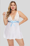 White Plunge V Neck Lace Bust Pleated Plus Size Babydoll-Plus Size Clothing, Plus Size Lingerie-Azura Exchange