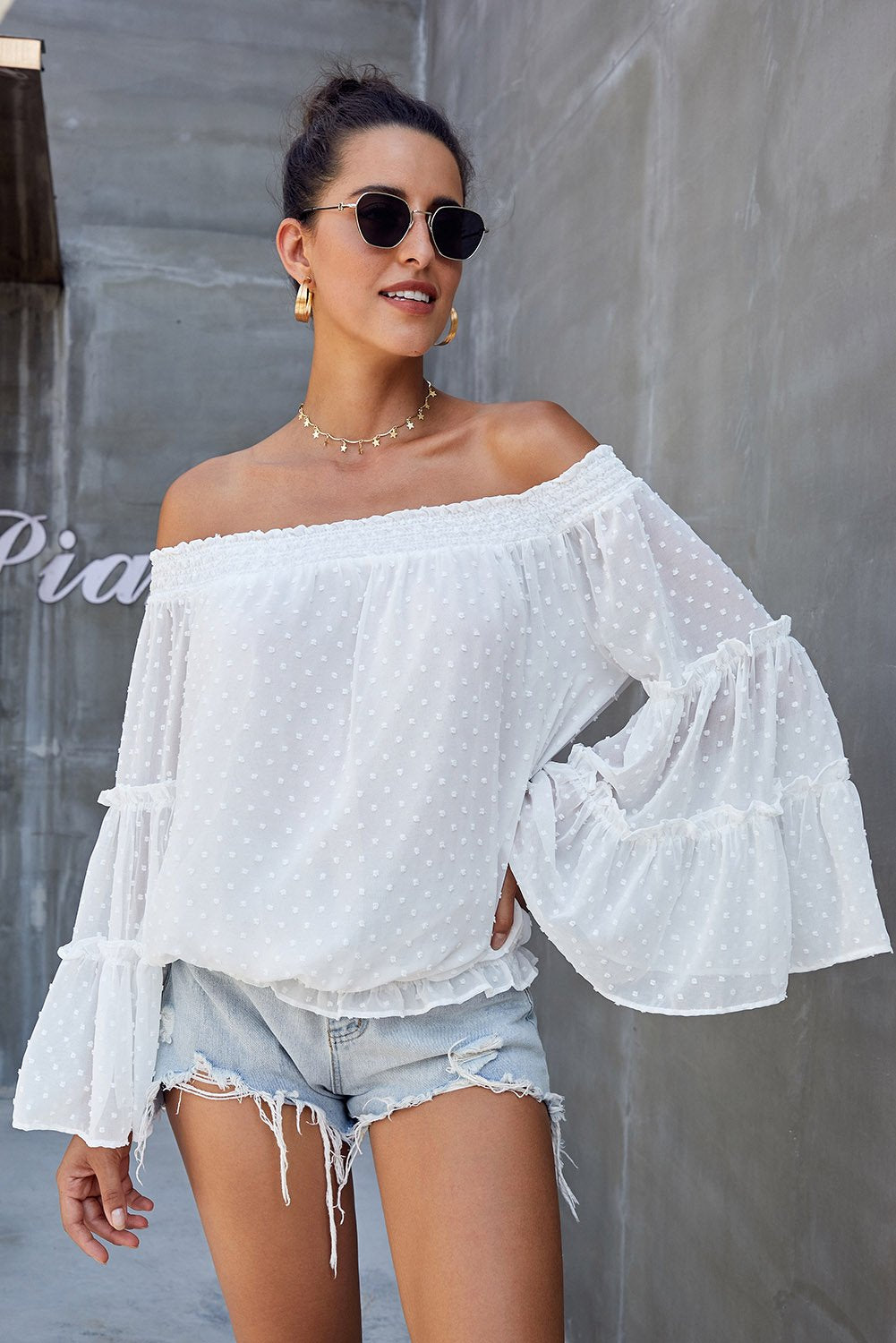 White Swiss Dot Off The Shoulder Top-Tops, Long Sleeve Tops-Azura Exchange