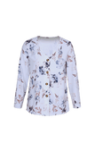 White V Neck Buttoned Floral Print Blouse-Tops, Blouses & Shirts-Azura Exchange
