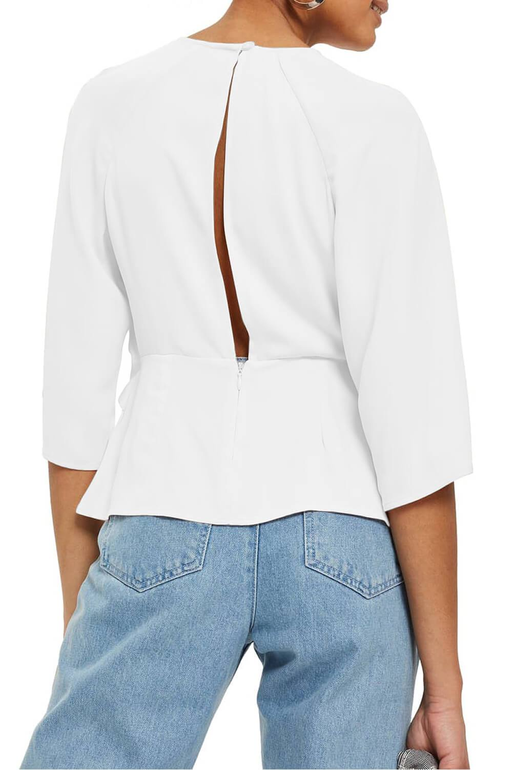White Waist Tie Front Flare Sleeve Blouse-Tops, Blouses & Shirts-Azura Exchange