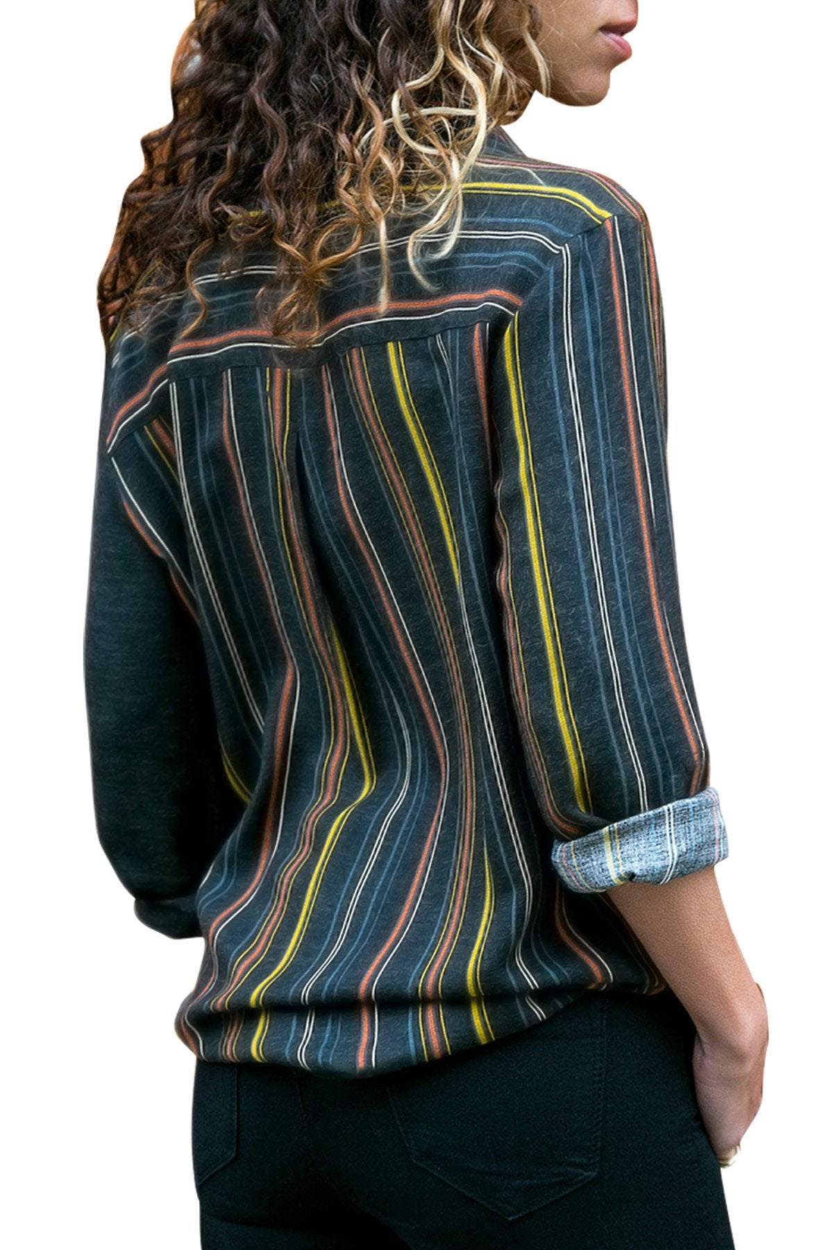 Yellow Accent Colorblock Long Sleeve One Pocket Shirt-Tops, Long Sleeve Tops-Azura Exchange
