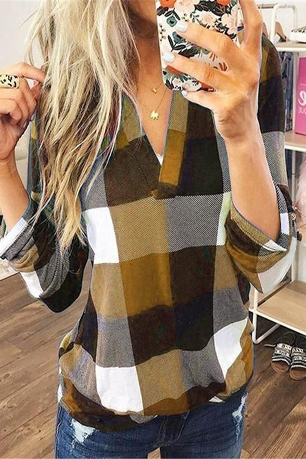 Yellow Contrast Plaid V Neck Long Sleeve Top-Tops, Long Sleeve Tops-Azura Exchange