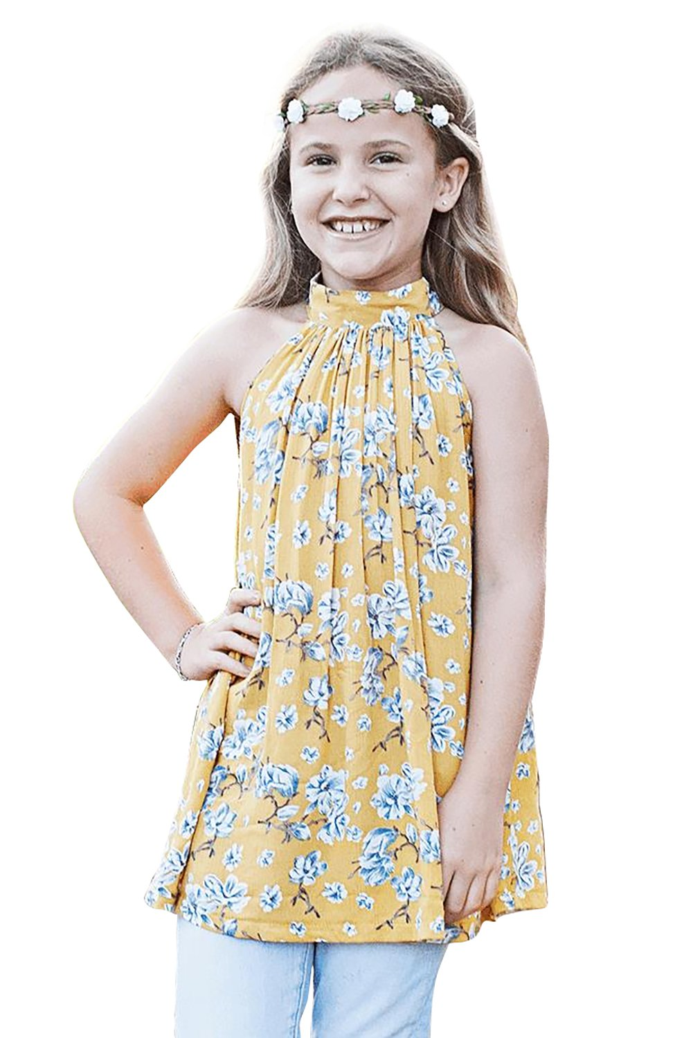 Yellow Little Girls Floral A-line Blouse-Baby&Kids, Girls Tops-Azura Exchange