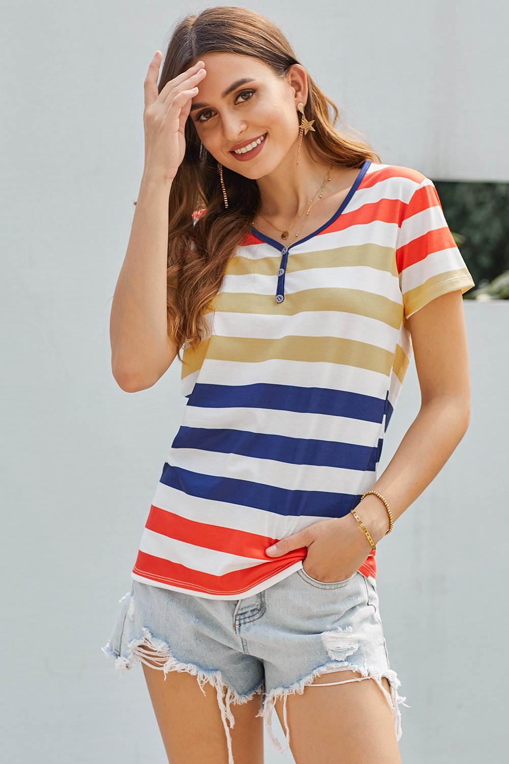 Yellow Striped Henley T Shirt-Tops, Tops & Tees-Azura Exchange