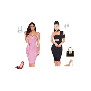 Black dating dress| pink Curvy dress-NCFashions