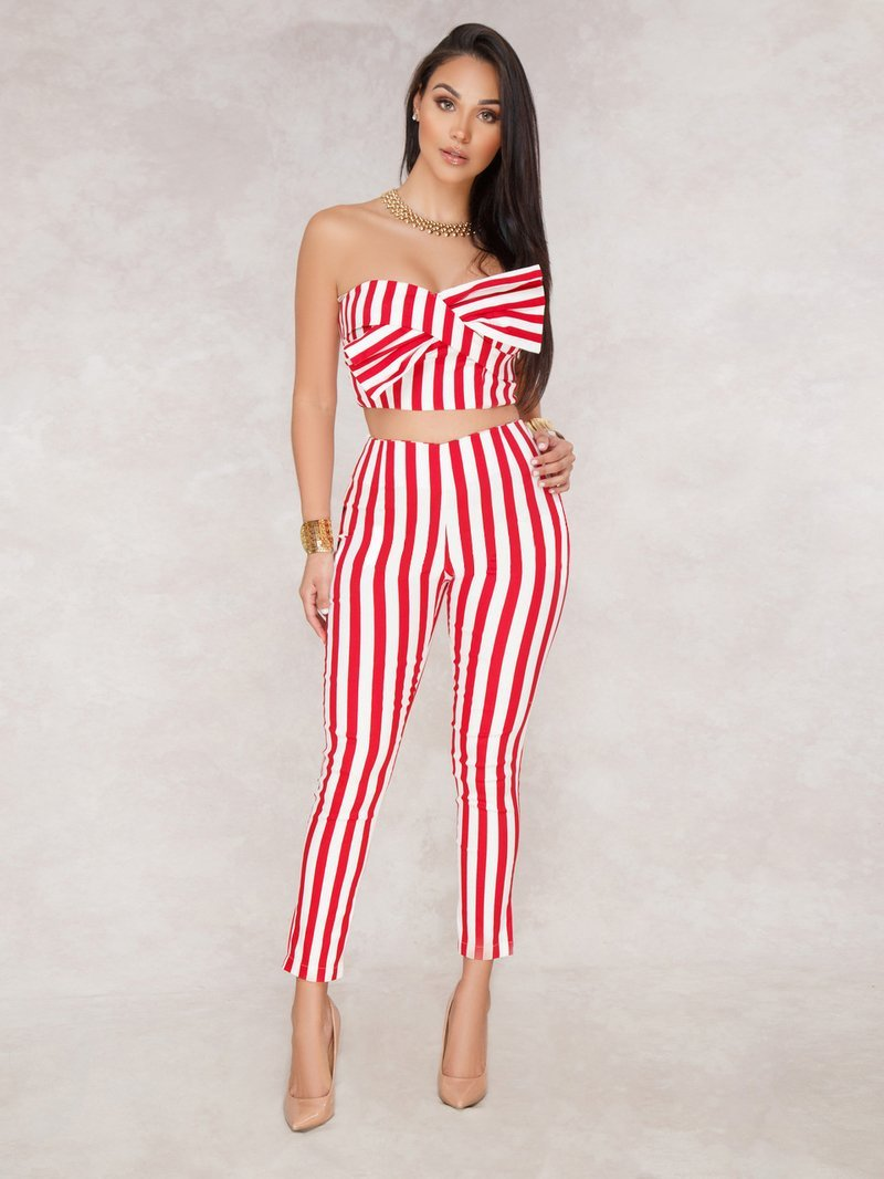 Boat Neck Bow Striped Sets | NCFashions