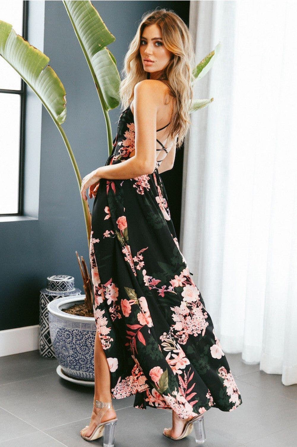 Stunning Floral Maxi Dress -NCFashionsbrand -floral maxi dress | floral maxi dress for wedding | casual floral maxi dress | floral maxi dress plus size