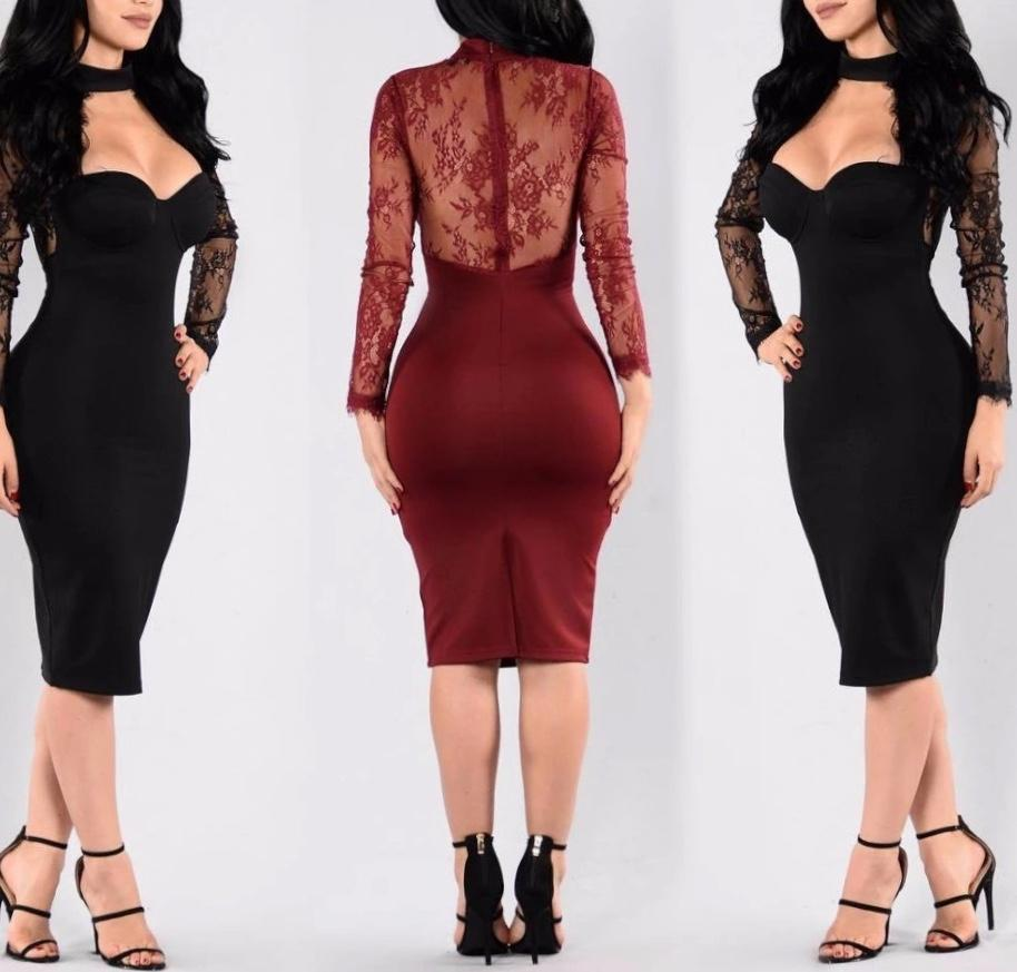 Choker Pencil Dress | NCFashions| |elegant pencil dresses