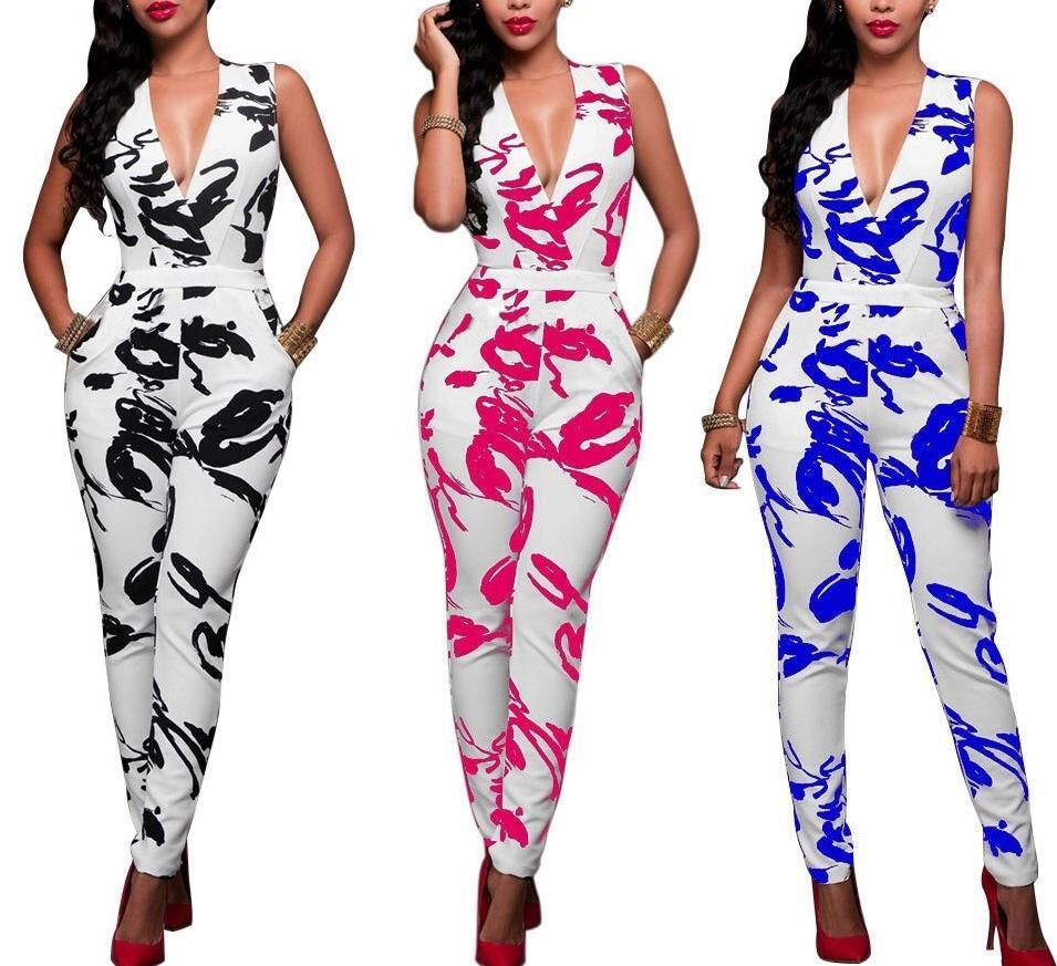 V-Neck Print Jumpsuit | NCFashionsbrand |  v neck jumpsuit express |v neck overall dress | jumpsuit for girls | jumpsuits for weddings
