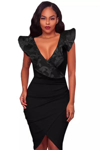 Lace Ruffle V Neck Midi Dress | NCFashionsbrand | midi dresses for work | midi dress bodycon| office dresses for ladies