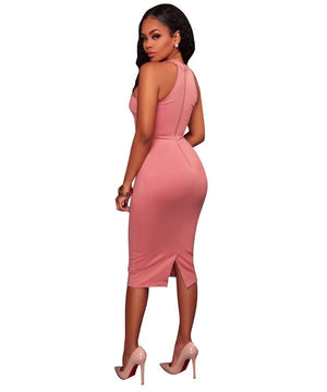 Pink Sleeveless Dress-NCFashions