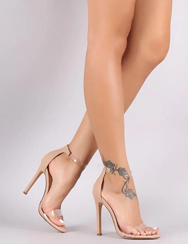 Buckle Belt PVC Woman Sandal |NCFashions | ladies nude sandal