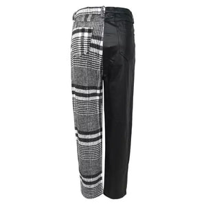 Women's PU Plaid Ankle Pants