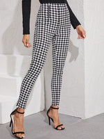 Plaid Trouser High Waist Pants