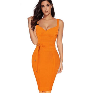 sexy orange Bandage dress-NCFashions