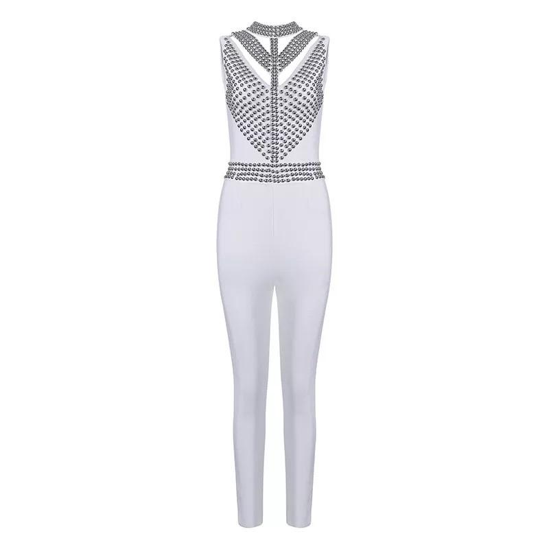 white jumpsuit-NCFashions- playsuit women