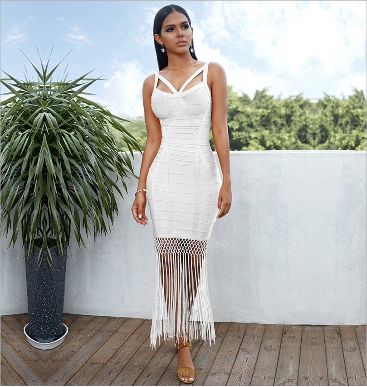 Tassel sexy night out | NCFashions |white dresses || elegant party dresses | dinner party dress | best party dresses