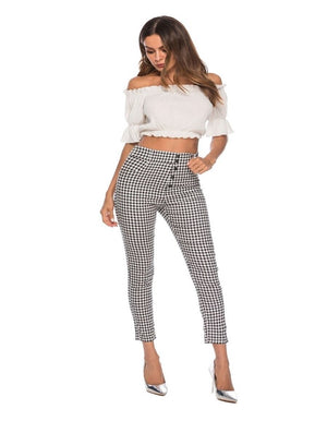 Plaid Trouser High Waist Pants | NCFashionsbrand | high waisted plaid pants grey | plaid pajama pants | trousers with side slits| high waisted plaid pants skinny