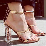 Trendy Thin Straps Transparent Chunky Sandal | NCFashionsbrand | clear block heels | public desire | transparent heels trend | transparent heels sandals |  transparent pumps