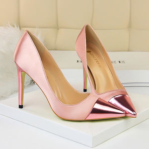 Women High Heels Pumps Sexy Silk Us5.5/eu36 / Pink Shoes