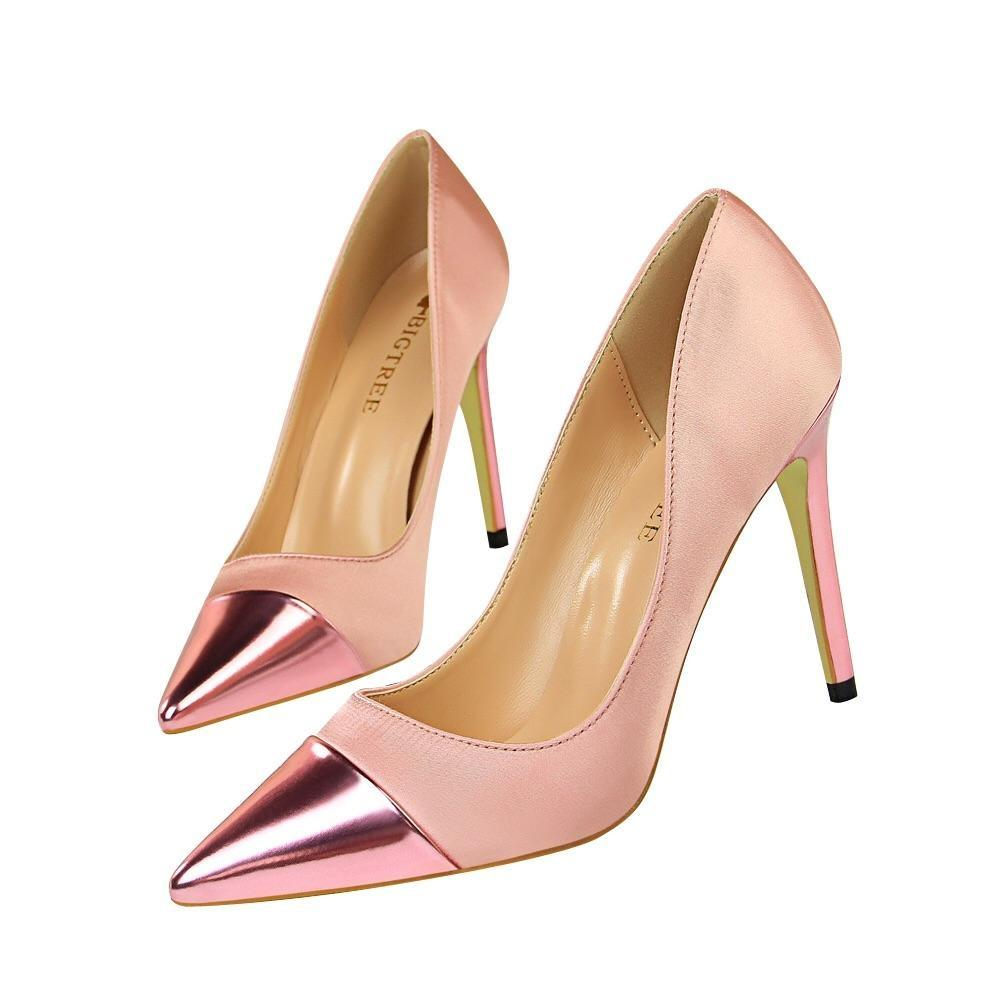Women High Heels Pumps Sexy Silk Us6.5/eu37 / Pink Shoes