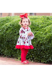 AnnLoren Girls Holiday Outfit Day Red Floral Bouquet Boutique Dress Leggings - Himelhoch's