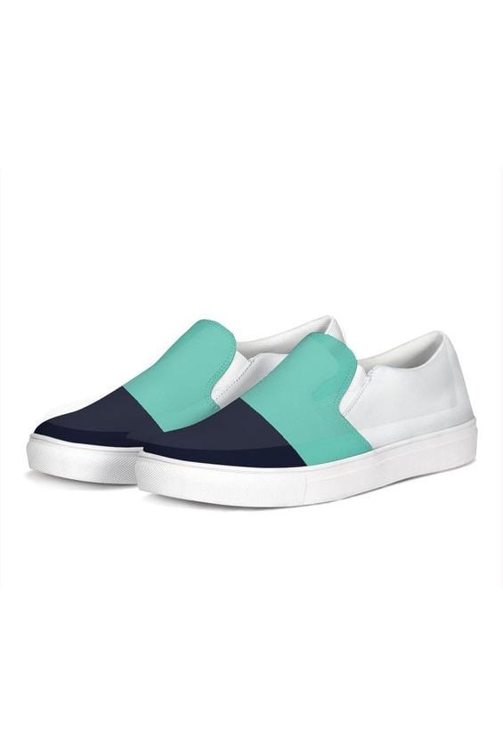FYC Color Block Navy/Teal Canvas Slip-On Casual Shoes - Himelhoch's
