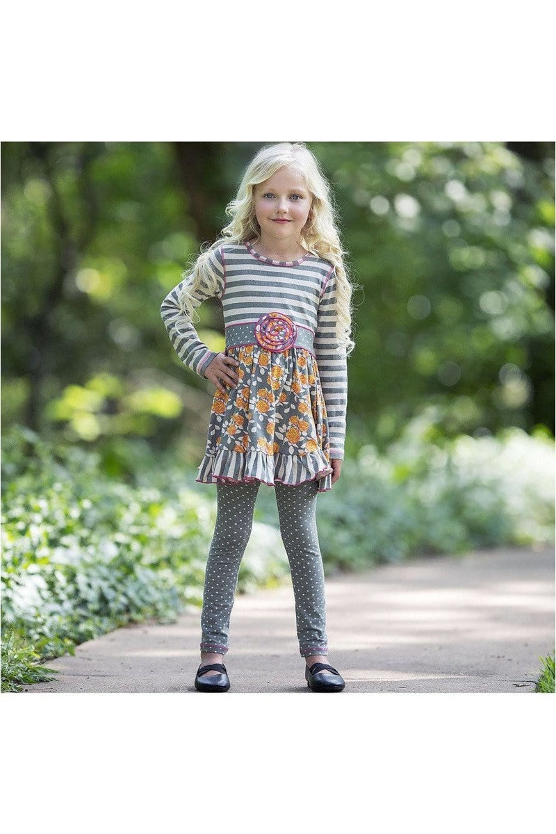 AnnLoren Boutique Grey Floral & Striped Dress & Polka Dot Leggings Clothing Set - Himelhoch's