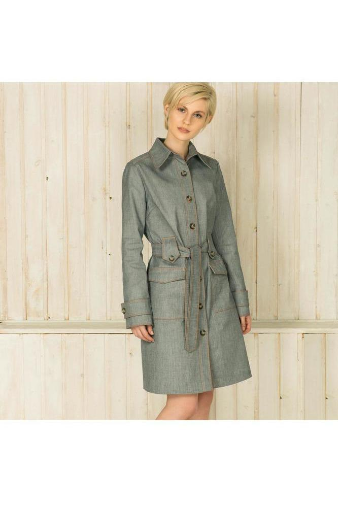 Single-Breasted Denim Trench Coat - Himelhoch's