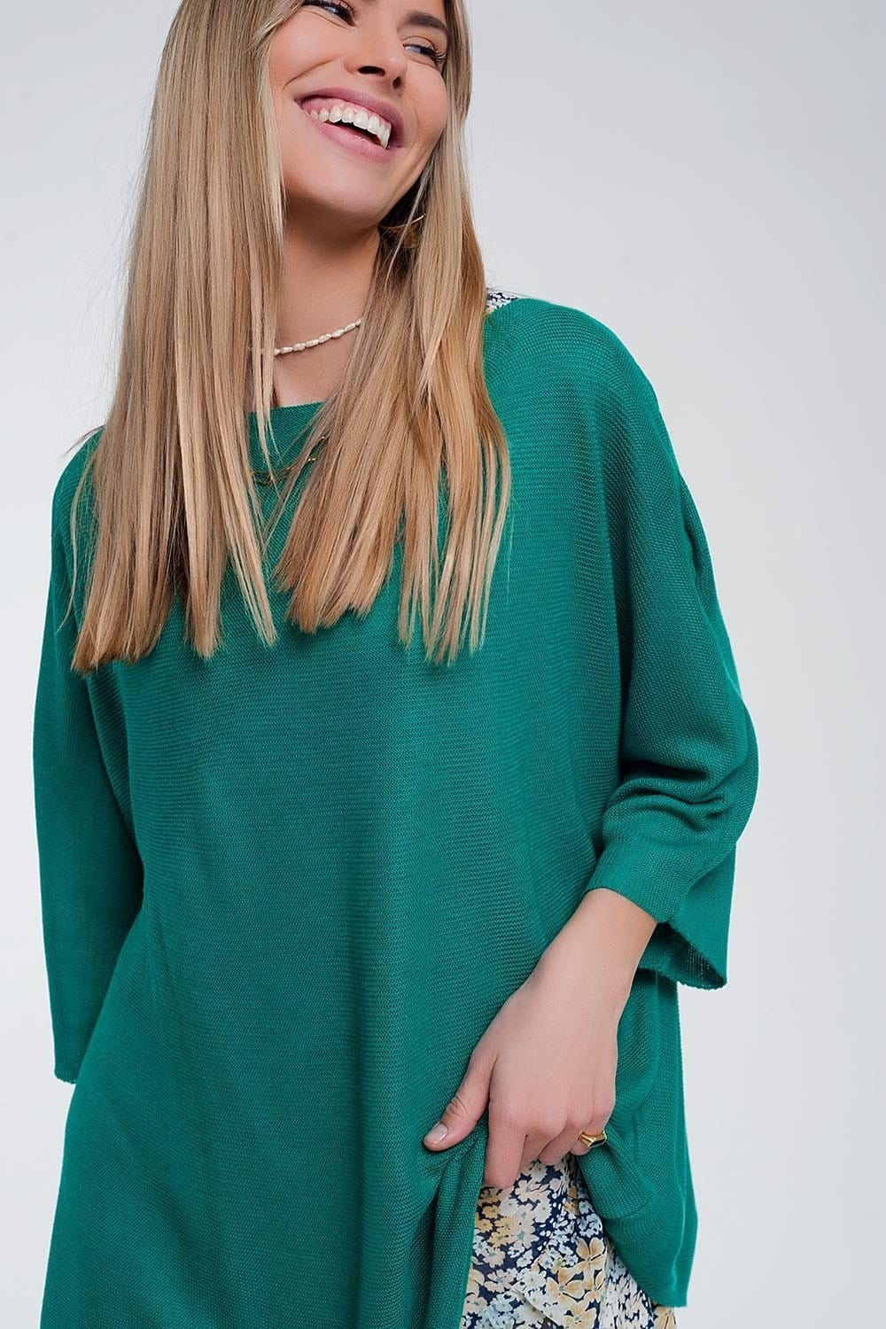 3/4 Sleeve Jumper in Green - Himelhoch's