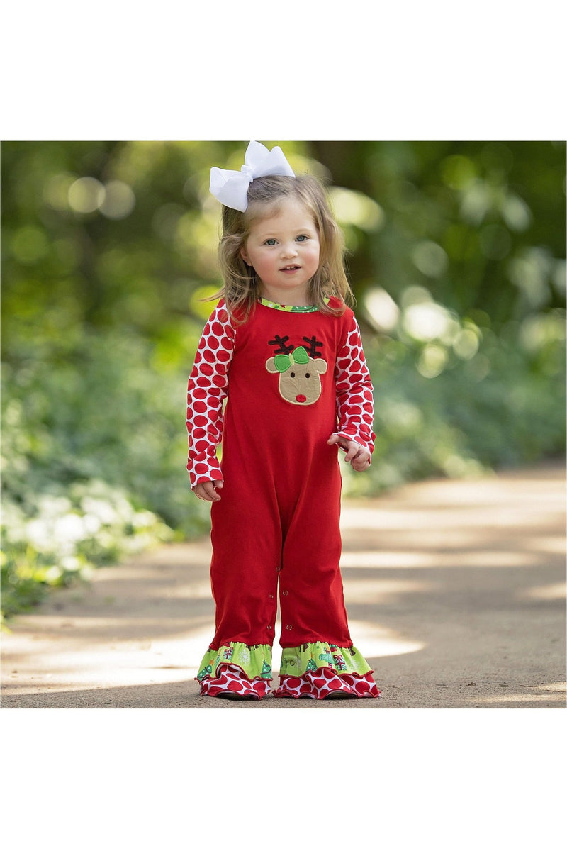 AnnLoren Baby Girls Boutique Red Green Christmas Tree Rudolph Reindeer Holiday Romper sz 6M-24M - Himelhoch's
