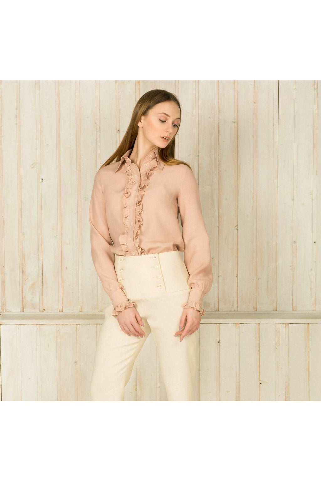 Pale Pink ruffled viscose long sleeve shirt - Himelhoch's