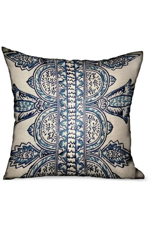 Aristocratic Floret White/ Blue Paisley Luxury Outdoor/Indoor Throw Pillow - Himelhoch's