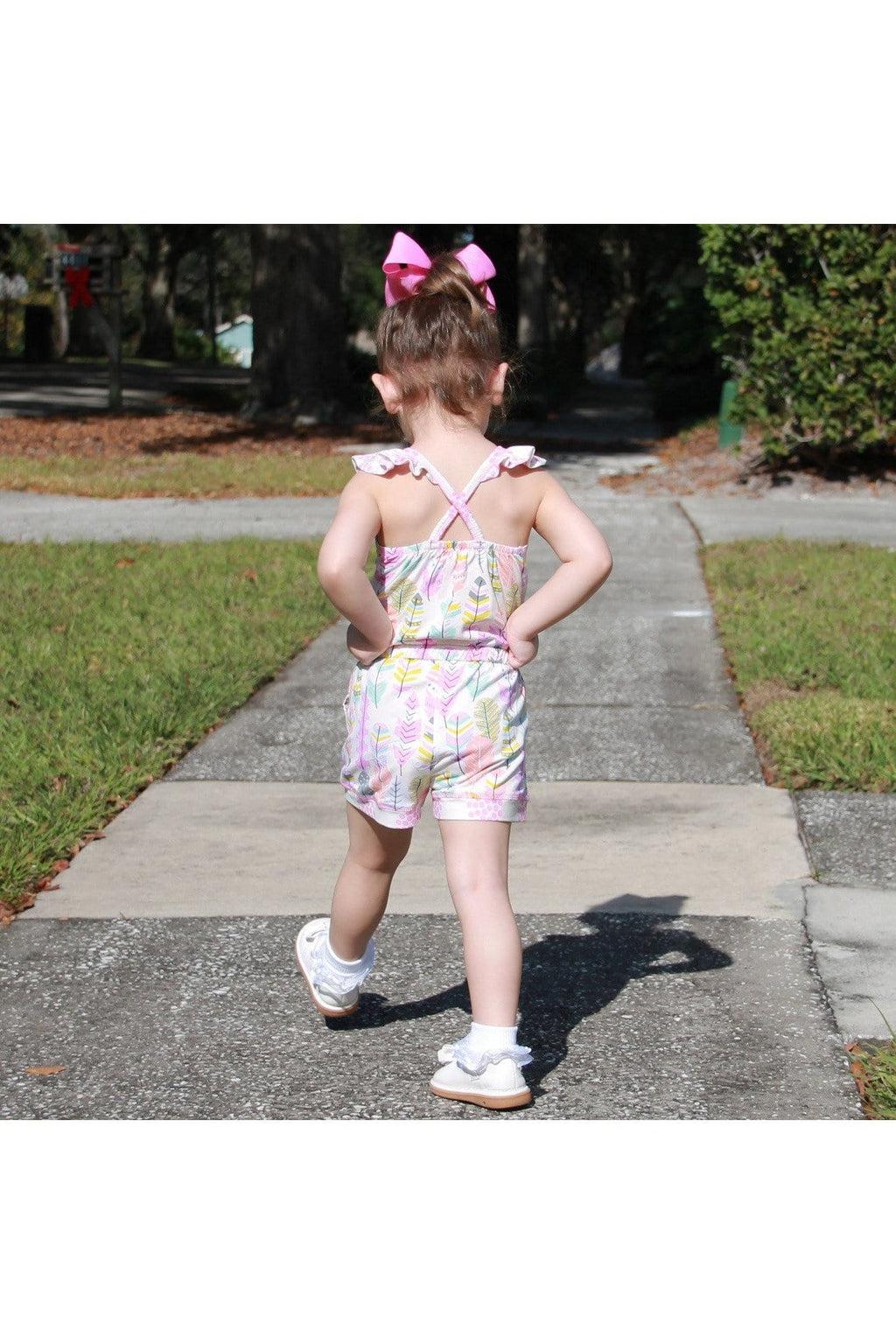 AnnLoren Big Little Girls Pink Feather & Polka Dots Shorts Jumpsuit Spring Summer One Piece Outfit - Himelhoch's