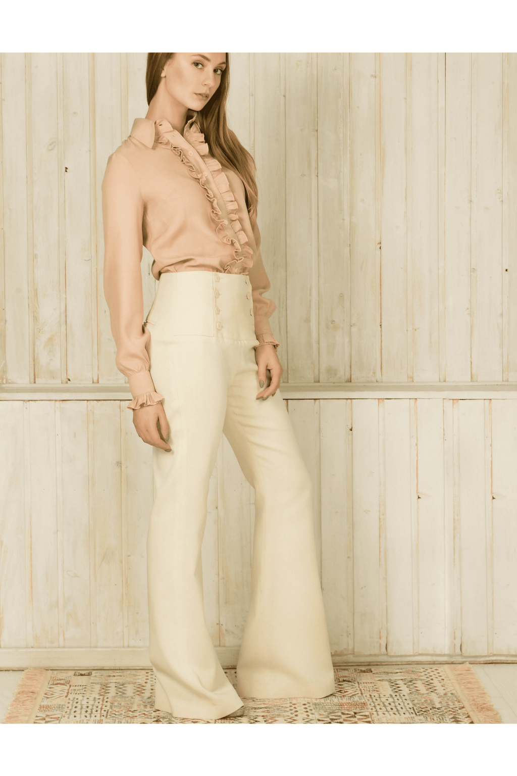 Button–embellished Flared Pants in Beige - Himelhoch's