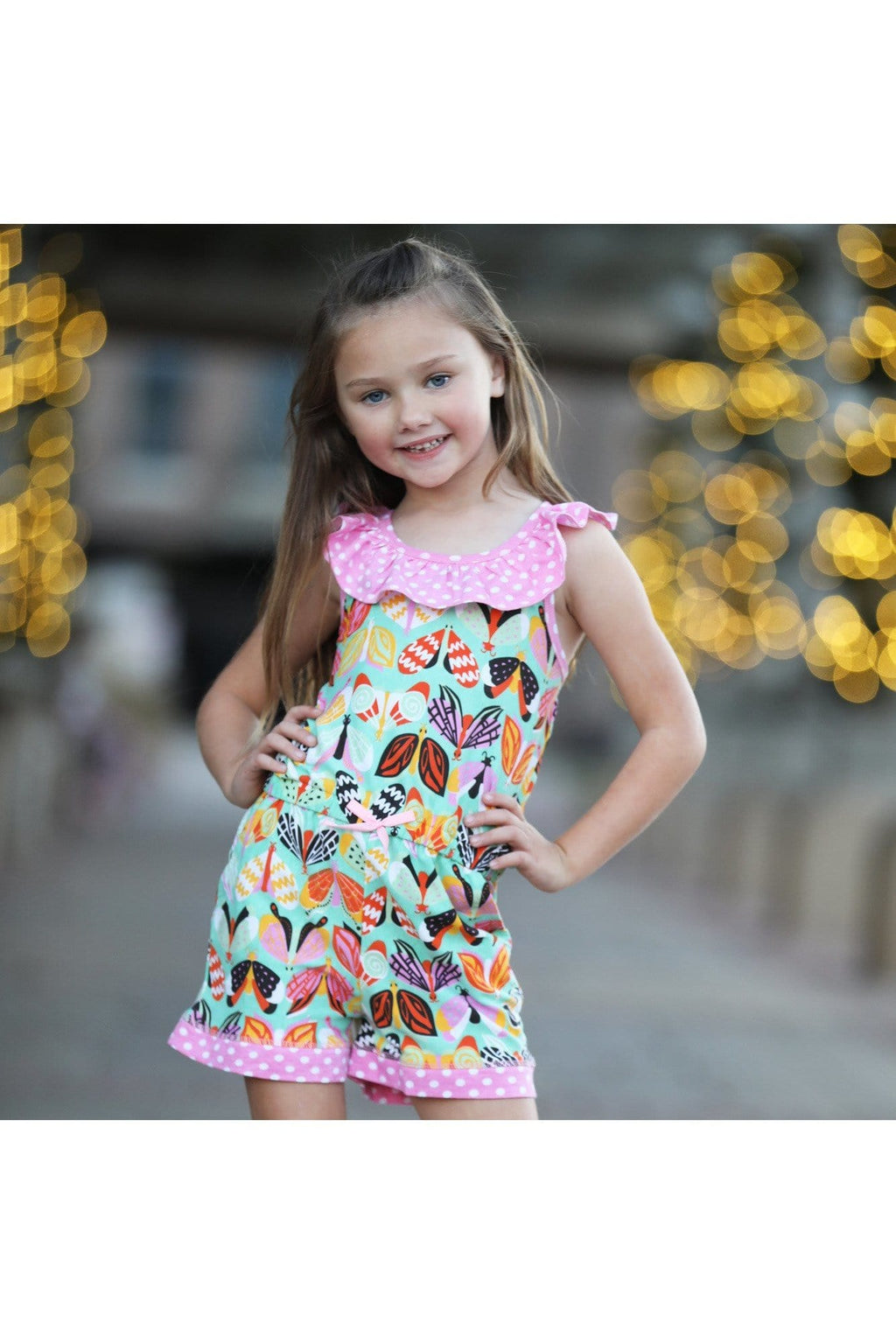AnnLoren Little Big Girls Jumpsuit Butterfly Polkadot Spring One Pc Boutique Clothing Sizes 2/3T - 9/10 - Himelhoch's